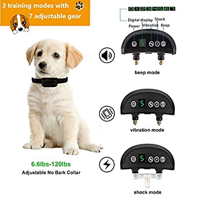 Bark Collar Rechargeable Humane Dog Training Collar with Beep Vibration and No Harm Shock no bark Collar for Small Medium Large Dog .