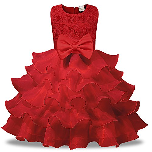 (Kids Tales Girl Dress Kids Ruffles Lace Party Wedding Dresses, Red,)