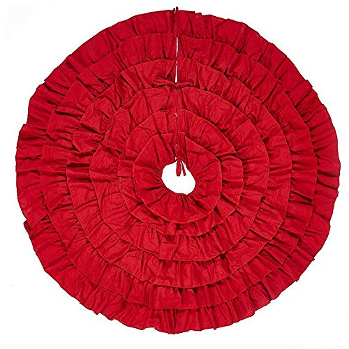 HAJUGADOR 48 Inches Christmas Tree Skirt - Red Burlap Ruffled Xmas Tree Skirt Holiday Decoration for Gift Giving (Tree Skirt Burlap Christmas Red)