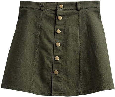 QBXDQ Falda Corta Una Línea De Mini Falda De Cintura Alta Jeans ...