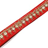 Floral Design Ribbon Trim Red Traditional Lace Indian Sewing Bridal Dress Craft Tape 4 Yrd