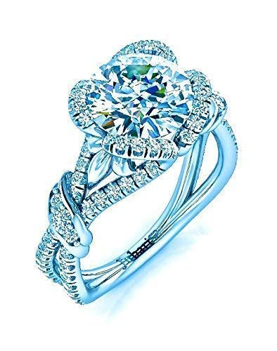(Unique Round Floral Halo Diamond Ring Custom 1.55 Tcw Vine Foliage Wrapping Heart Buckle Cross Shank 14K White Gold Jubariss Designer Fine Jewelry)