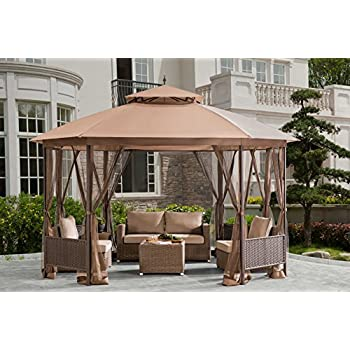 Sunjoy D GZ762PST E 10u0027X12u0027 Patio Softtop Gazebo With Netting