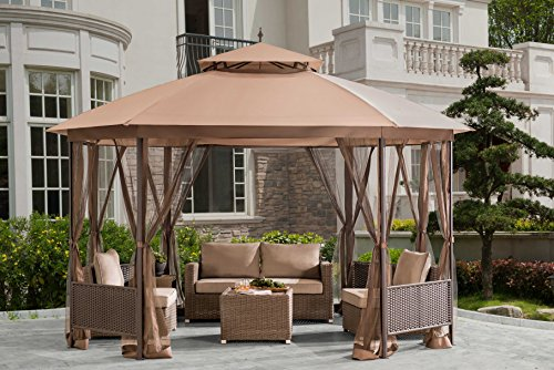 Sunjoy Octagonal Patio Softtop Gazebo with Netting,Wicker Pannels,Brown ()