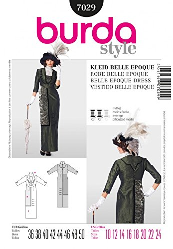 Belle Epoque Costumes (Burda Ladies Sewing Pattern 7029 Historical Belle Époque Style Dress Costume)