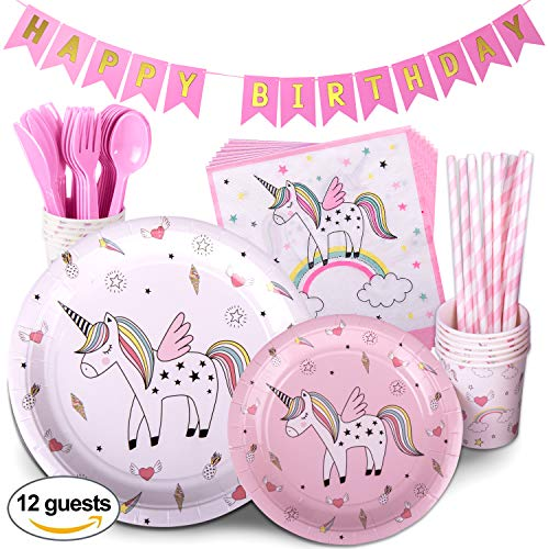 Unicorn Birthday Party Supplies Pink Childrens Rainbow Party Supply Set with Bonus Happy Birthday Banner Serves 12 , 96 Pieces