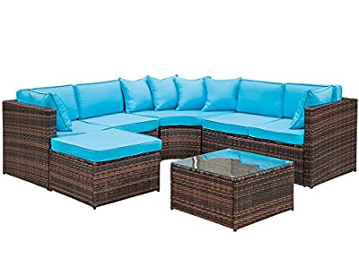 LZ LEISURE ZONE 5-Piece Patio Furniture Set OutdoorWicker Sofa Sectional Conversation Set with Cushions