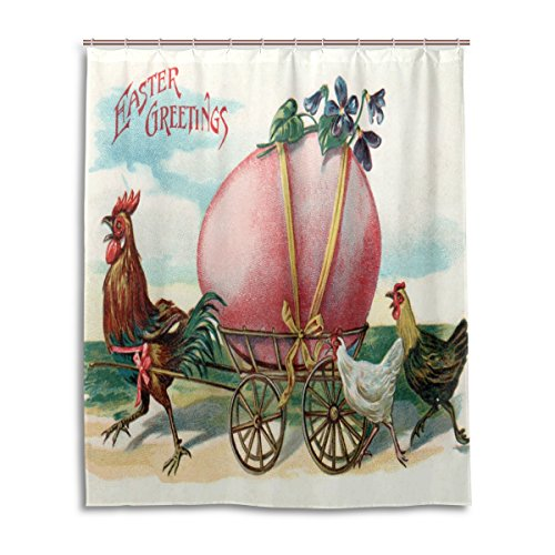 ALAZA 60 x 72 IN Shower Curtain with Hooks, Vintage Easter E