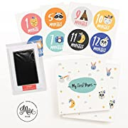 Mae KIDS First 5 Years Baby Memory Book, Ink Pad & Milestone Stickers – Large 5 Year Keepsake Journal for Recording your Babies Firsts & Memories – Perfect Baby Shower Gift for Boy or Girl