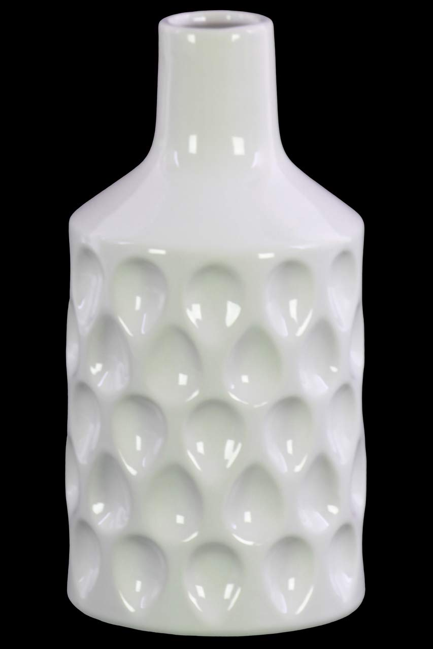 Benzara BM179429 Ceramic Bottle Vase with Embossed Teardrop Pattern, White