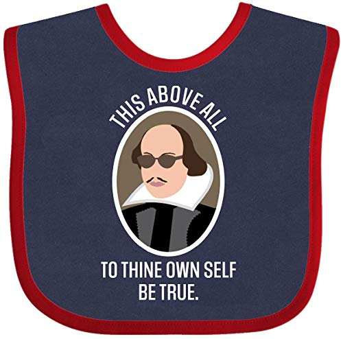 Inktastic to Thine Own Self Be True Shakespeare Baby Bib Navy and Red (To Thine Own Self Be True Quote)