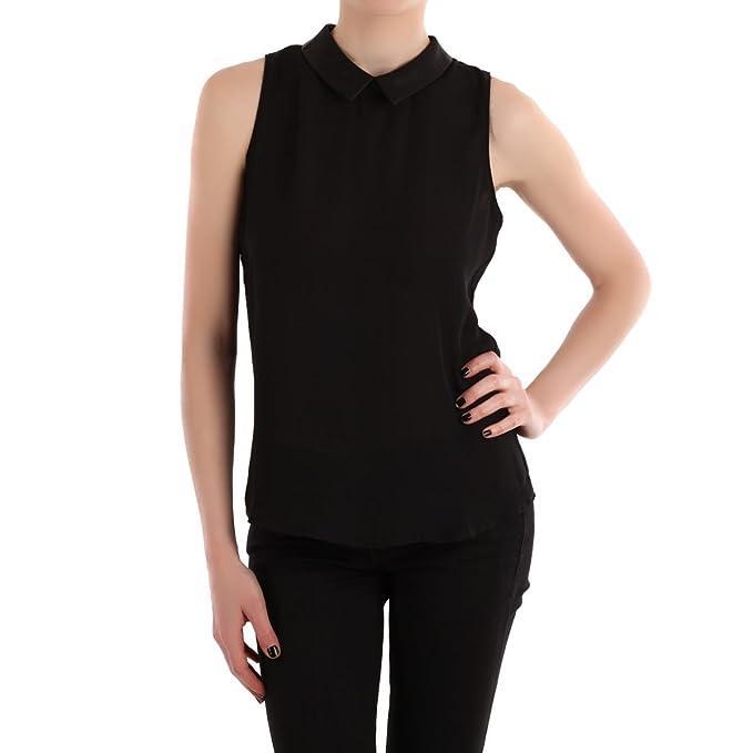 La Modeuse-Camiseta ligera fluida sin mango, cuello-Carpeta piel sintética, diseño de cortina negro large: Amazon.es: Ropa y accesorios
