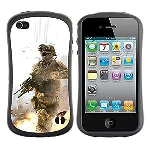 Suave TPU GEL Carcasa Funda Silicona Blando Estuche Caso de protección (para) Apple Iphone 4 / 4S / CECELL Phone case / / Soldier Battle Field /