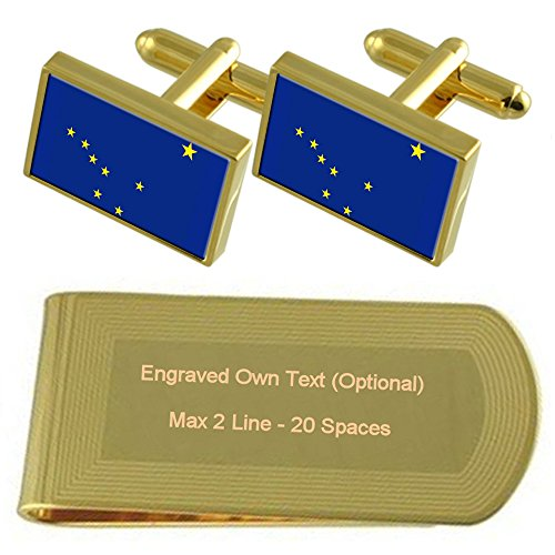 Engraved Flag Alaska Set Cufflinks tone Clip Gift Money Gold 4rYdrwRq