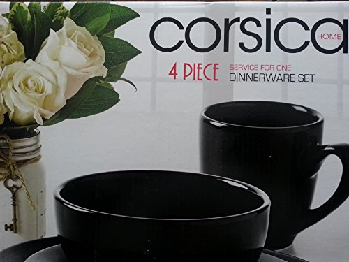 Corsica Home Tabletops Unlimited - Modern Style 4 Piece Place Settings, Service For 1 (Black)