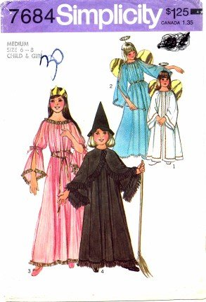 Simplicity 7684 Sewing Pattern Girls Angel Fairy Witch Princess Costumes Size 6 - 8 -