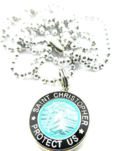Mini St Christopher Surf Medal Pendant Necklace,Aquamarine/Black AQ/BK by Get Back Supply Co (Image #4)