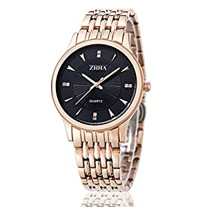 ZHHA Men's 004 Quartz Black Dial Gold Stainless Steel Bracelet Wrist Waterproof Watch