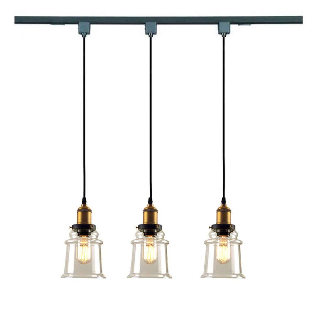 KIVEN H-Type 3 Wire Miniature Pendant Track Lighting Fixture Restaurant Chandelier Decorative Chandelier Instant Pendant Industrial Factory Glass Pendant Lamp,Bulb Include,One Light by Kiven (Image #3)