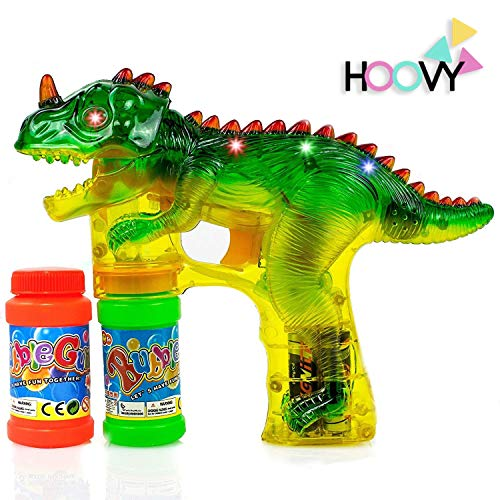 Hoovy Dinosaur Bubble Gun Blower Shooter Light Up LED Flashing Lights Plays Sounds | Bubble Dinosaur Toys for 2 3 4 5 6 7 Year Old Boy Girl | Bubble Blower for Kids (1 Pack)