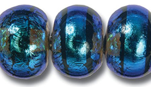Paula Radke Aqua Dichroic with Stripe 13mm Round