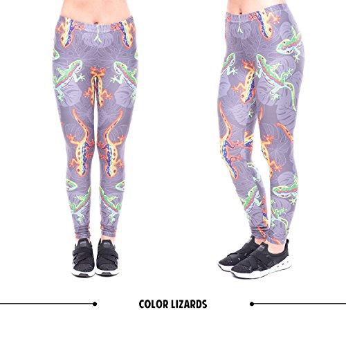Push 8 Colore Sportivi Stampa Alta Leggings con da Pantaloni Collant Pantaloni Up Elastici Yoga Fliegend Leggins 3D Donna Vita HUTOOq