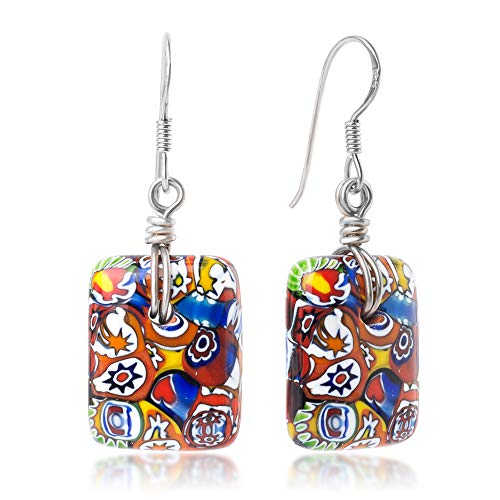 925 Sterling Silver Millefiori Murano Glass Irregular Mixed Colors Square Dangle Earrings 1.5