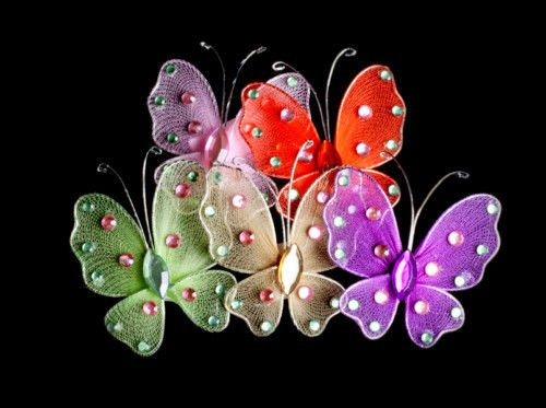 CraftbuddyUS 5 Large Stick on Diamante Rhinestone Butterfly Gems