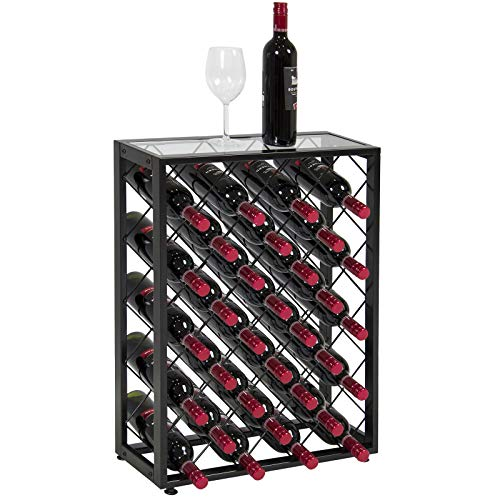 32-Bottle Metal Frame Wine Rack with Glass Table Top As Serving Spot Liquor Storage Home Cellar Easily Fits and Tilts Bottles Downward Perfect for Wine Lovers Wine Collectors Space Saving Furniture