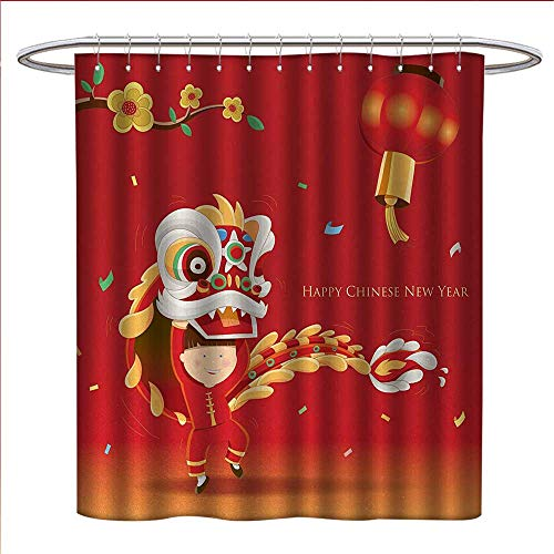 Anniutwo Chinese New Year Shower Curtains Fabric Extra