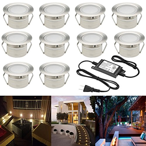 FVTLED Low Voltage LED Deck Lighting Kit Stainless Steel Waterproof Outdoor Landscape Garden Yard Patio Step Decoration Lamps LED In-ground Lights, Pack of 10(Warm (Exterior Deck Lighting)
