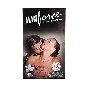 PleasureWorld - Man Force Extra Dotted Condoms -Jasmine Flavoured - 10 s
