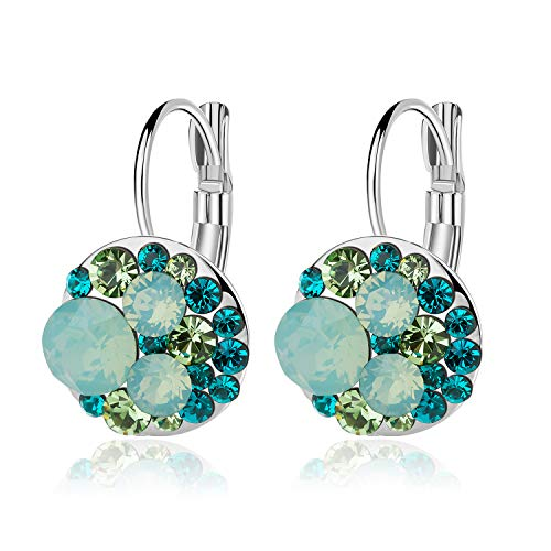 Plated Green Crystal - Multicolored Swarovski Crystal Earrings for Women Girls 14K Gold Plated Leverback Dangle Hoop Earrings (Green Main Crystal/Silver-tone)