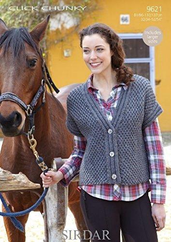 Sirdar Click Chunky - Sirdar Ladies Cardigan Click Knitting Pattern 9621 Chunky