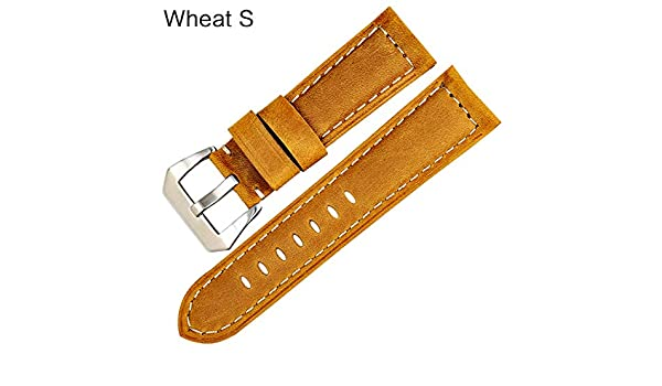 Amazon.com: Jewh Vintage Style Watchbands - Watch Accessories - Cow Leather Watch Band 22 24 26mm - Watch Strap for Panerai or Black Samsung Gear s3 (Wheat ...