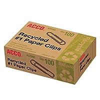 Acco Recycled # 1 Clips de papel, 100 conteos (A7072365A)