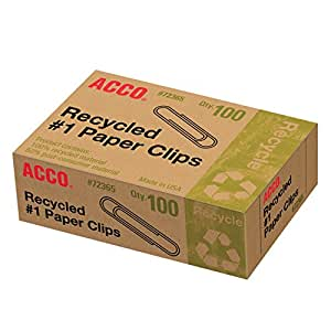 Acco Recycled #1 Paper Clips, 100 Count (A7072365A)