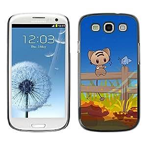 Paccase / SLIM PC / Aliminium Casa Carcasa Funda Case Cover - Cute Cat & Bird Friends - Samsung Galaxy S3 I9300