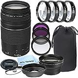 Canon EF 75-300mm f/4-5.6 III Telephoto Zoom Lens for Canon SLR Cameras + 3pc Filter Kit + 4pc Macro Kit + 2.2x Telephoto Lens + Lens Hood + 14pc Bundle – International Version