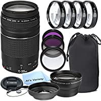 Canon EF 75-300mm f/4-5.6 III Telephoto Zoom Lens for Canon SLR Cameras + 3pc Filter Kit + 4pc Macro Kit + 2.2x Telephoto Lens + Lens Hood + 14pc Bundle – International Version