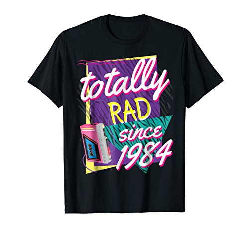 Mens Totally Rad 80s Throwback T-Shirt - Funny 1984 Birthday Tee Small Black