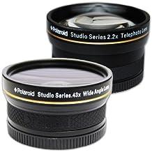 Polaroid Studio Series 52/55/58mm .43x HD Wide Angle Lens With Macro Attachment + Polaroid Studio Series 2.2X HD Telephoto Lens Travel Kit