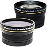 Polaroid serie Studio lente gran angular y macro 52/55/58 mm .43x de alta definición + Polaroid serie Studio kit de viaje para teleobjetivo 2.2X de alta definición, incluye estuche para lentes y tapas