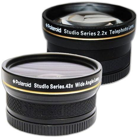 Polaroid Studio Series 52/55/58mm .43x HD Wide Angle Lens With Macro Attachment + Polaroid Studio Series 2.2X HD Telephoto Lens Travel Kit PLKIT58WT