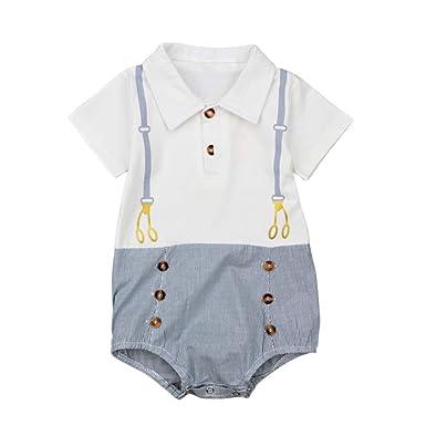 ad20311e94a69 Bébé Garçon Mode Barboteuse en Coton à Manche Courtes Motif de Costume  Rayure Bleu et Blanc