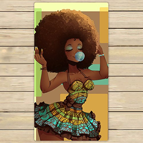 Custom African Woman Hand Towel,Spa Towel,Beach Bath Towels,Bathroom Body Shower Towel Bath Wrap Size 30x56 inches