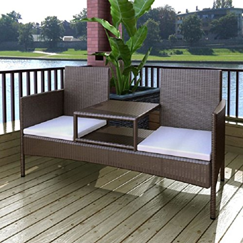 Patio Rattan Wicker Garden Balcony Bench 2 Seater Chairs Table w/ Cushion, (2 Seater Bench Cushion)