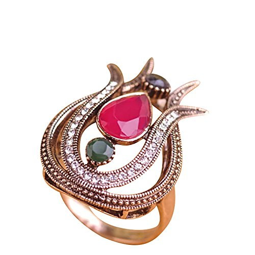 (HAVANA Vintage Tulip Finger Pink Green Red Black Jewelry Fashion Turkish Resin Flower Antique Gold Metal Ring for Women (8))