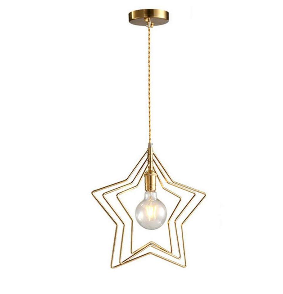 Wand Lampstar Shape Pendelleuchte Höhenverstellbar Pendelleuchte Kupfer E27 Einzelne Flamme Hängelampe Gold Farbig Anwendbar Kinderzimmer Dining Bar Etc