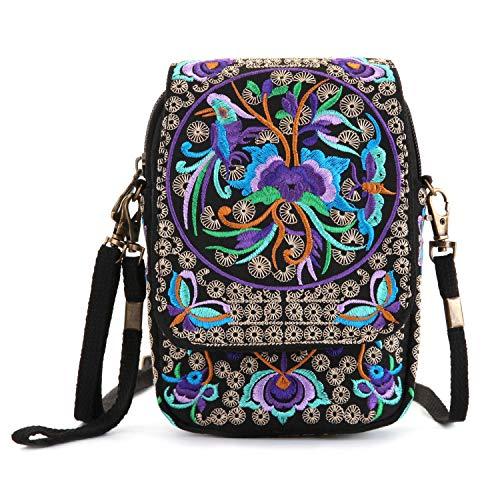 (Goodhan Vintage Printed Handmade Women Mini Crossbody Bag Cellphone Pouch Small Handbag Coin Purse (Style 01: Basic Version - Purple Multicolor))